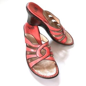 Sofft Womens Slip on Coral Leather Sandals Sz 9.5N